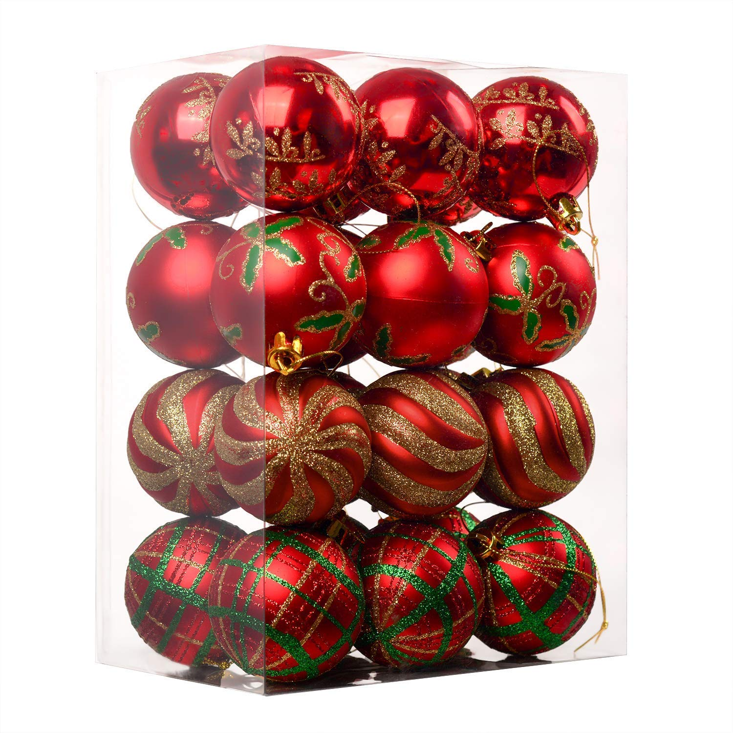 Valery Madelyn 24ct 60mm Traditional Red and White Shatterproof Christmas Ball Ornaments Decoration, Themed with Tree Skirt(Not Included)