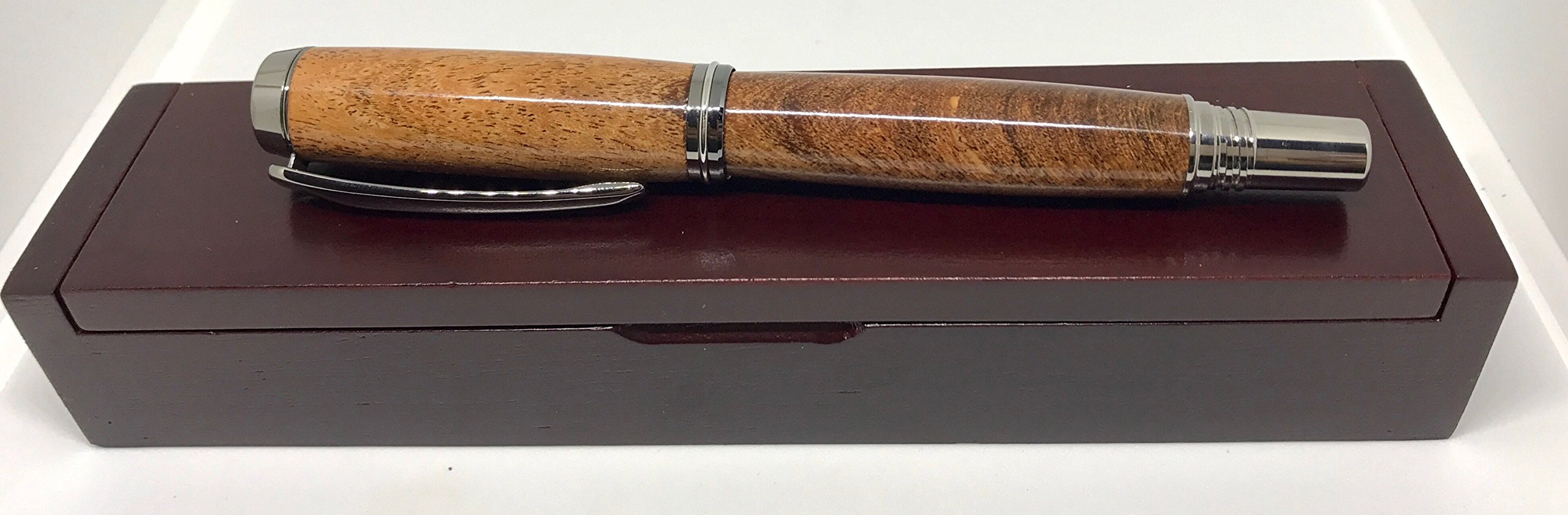 Texas Mesquite Handmade Rollerball Pen - Bendecidos Pens - Black Titanium Plating