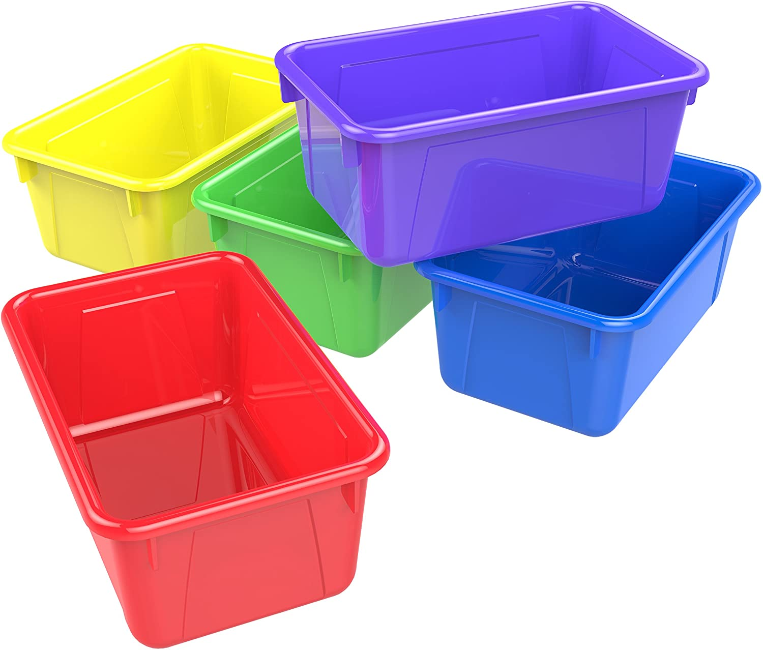 Amazon Com Storex 62414u05c Small Cubby Bin Plastic Storage Container Fits Classroom Cubbies Pack Of 5 12 2 X 7 8 X 1 Assorted Colors Office Products