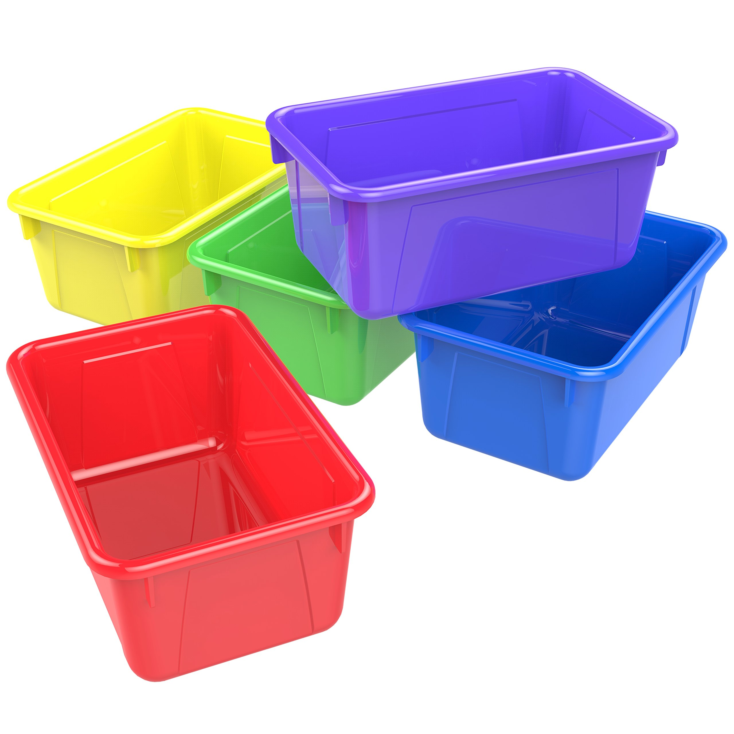 Storex 62414U05C Small Cubby Bin, Plastic Storage Container Fits Classroom Cubbies, Pack of 5, 12.2'' x 7.8'' x 1'', Red, Yellow, Green, Blue, Purple, Teal by Storex