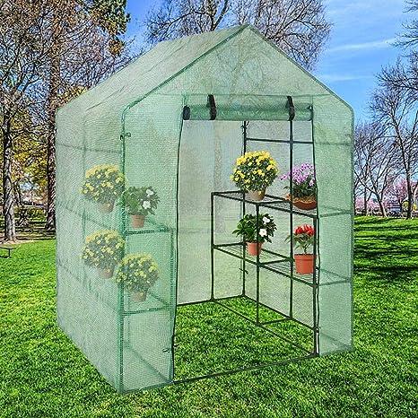 Hearthrousy Invernadero Jardin Portátil Vivero Casero Plantas Cultivos, Durable Cubierta Transparente y Puerta con Cremallera