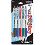 PILOT EasyTouch Refillable & Retractable Ballpoint Pens, Medium Point, Black/Blue/Red/Green/Purple Inks, 5-Pack (32256)