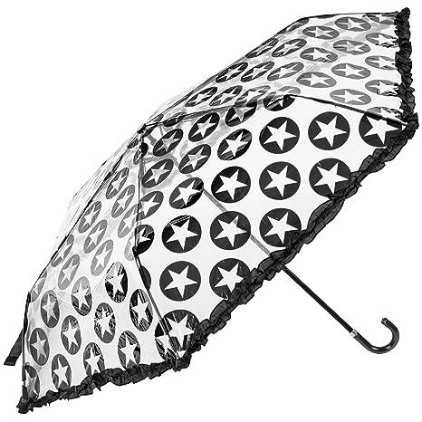 susino transparente Mini – Paraguas Plegable Negro Estrellas