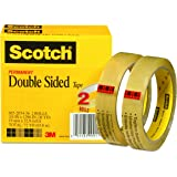 Scotch Double Sided Strong Tape, No Mess, 3/4 x 1296 Inches, 3 Inch Core, 2 Rolls (665-2P34-36)