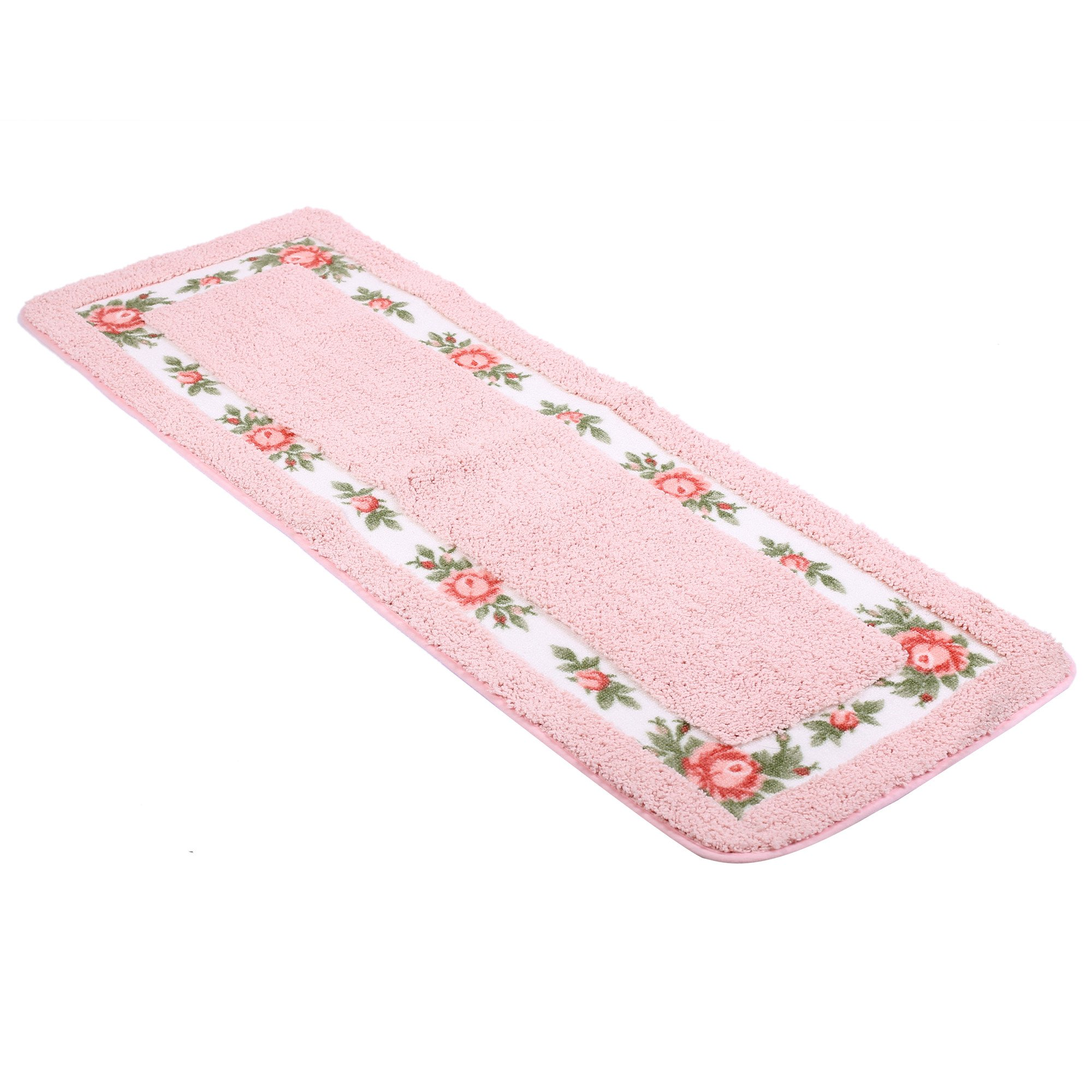 JSJ_CHENG Rustic Rectangular Decor Rose Floral Nonslid Bathroom Kitchen Area Rugs (17.7inch by 47.2inch, Pink)