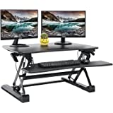 """Standing Desk Converter with Height Adjustable – FEZIBO Black 36"""" Stand up Converter Sit to Stand Dual Monitor Desktop Riser"""