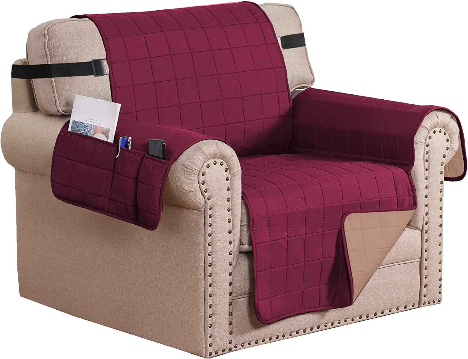 "Reversible Foam Quilted Non-Slip Furniture Protector with Side Pockets, 2"" Straps Covers for Dogs, Water-Repellent Sofa Slipcover, Seat Width Up to 24"", (Chair: Burgundy/Tan)"