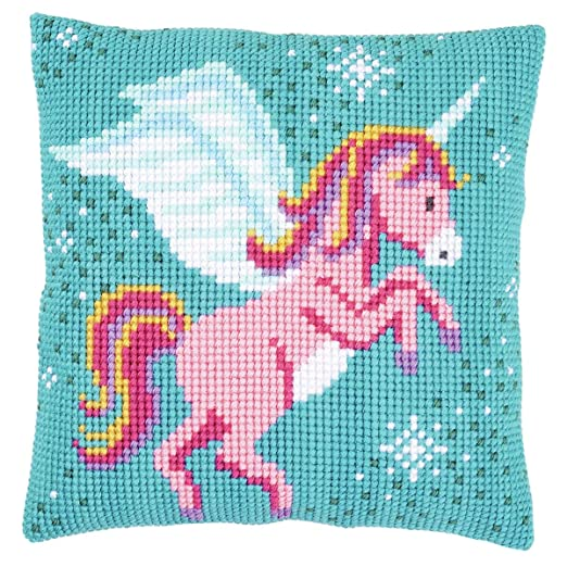 Unicorn - Funda de cojín de punto de cruz, color rosa, verde ...