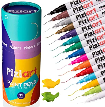 Piziart Paint Pens For Rocks Stone Ceramic Wood Canvas Set Of 15 Acrylic Paint Markers Extra Fine Tip Multi Surface Non Toxic Crafts Diy