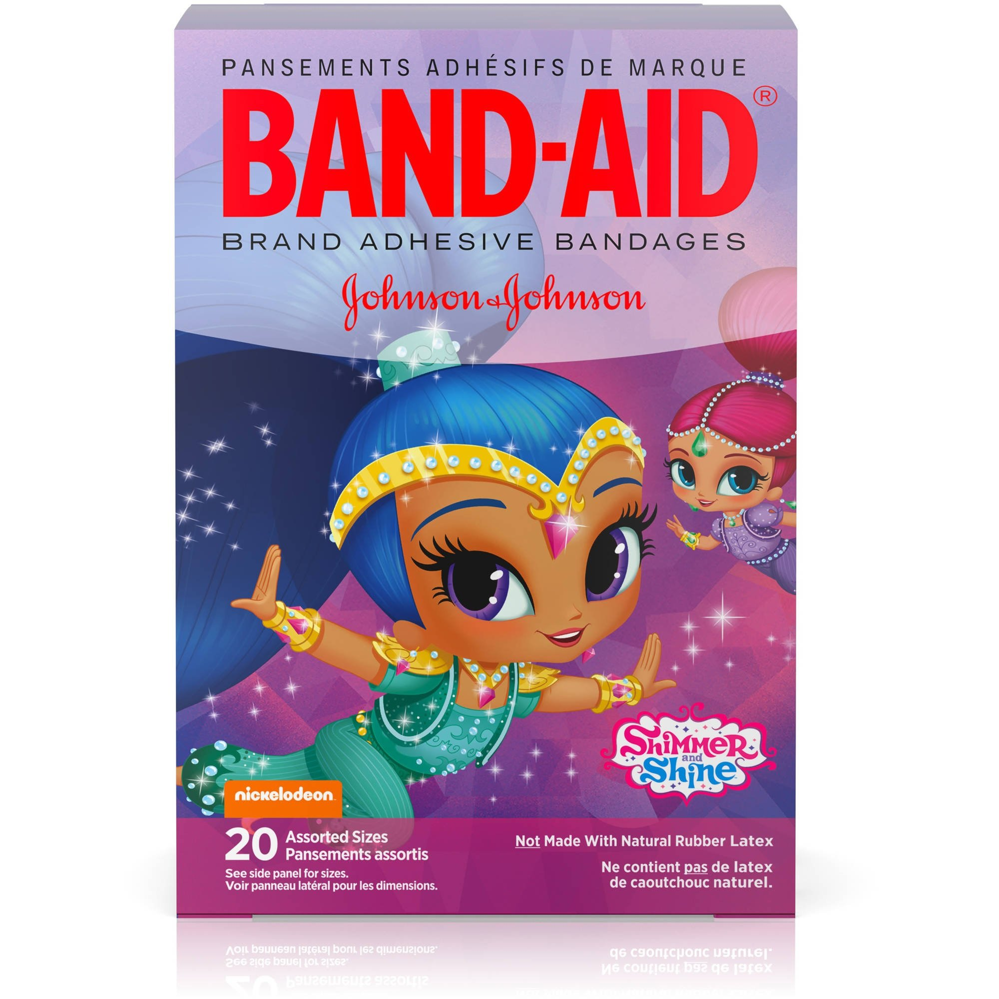 Band-Aid Brand Nickelodeon Shimmer and Shine Bandages, 20 Assorted Sizes Per Box (6 Pack)