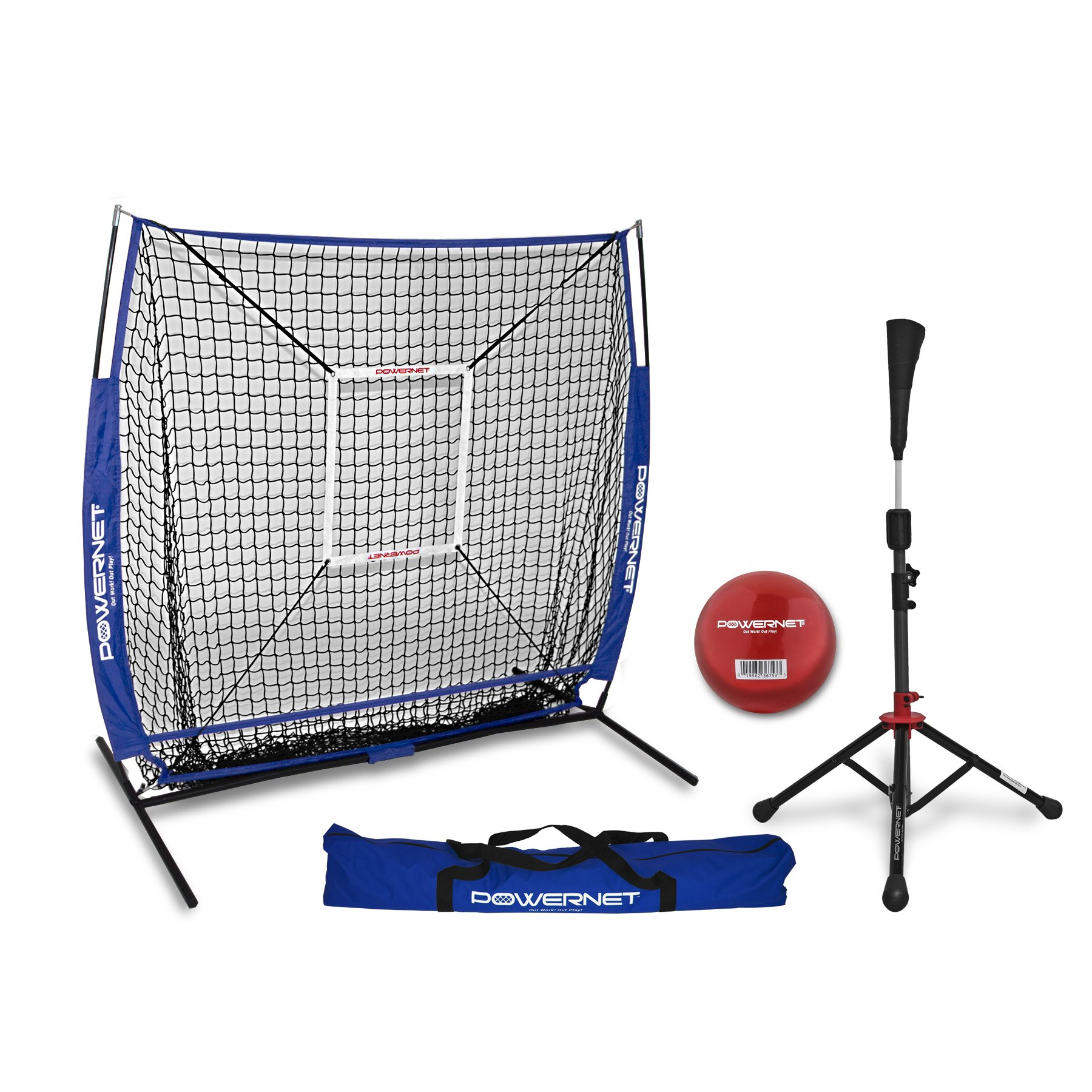 PowerNet 5x5 Practice Net + Deluxe Tee + Strike Zone + Weighted Training Ball Bundle (Royal Blue) | Baseball Softball Pitching Batting Coaching Pack | Work on Pitch Accuracy | Build Plate Confidence