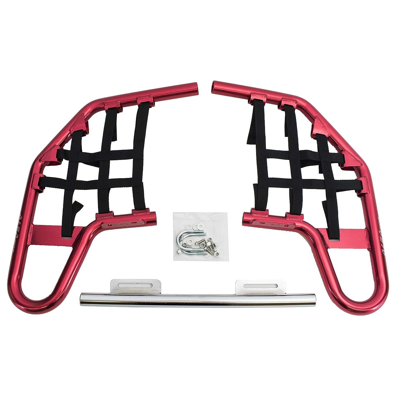 2001-2008 Compatible with Honda TRX250EX SPORTRAX Red Bars w//Black Net Standard Nerf Bars TRX 250EX