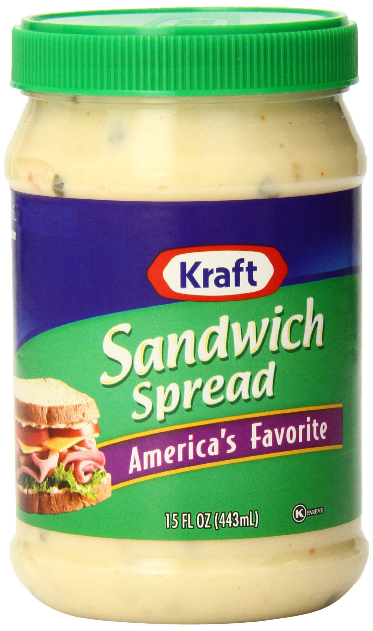 Kraft Sandwich Spread Plastic Jar, 15 Ounce (Pack of 12)