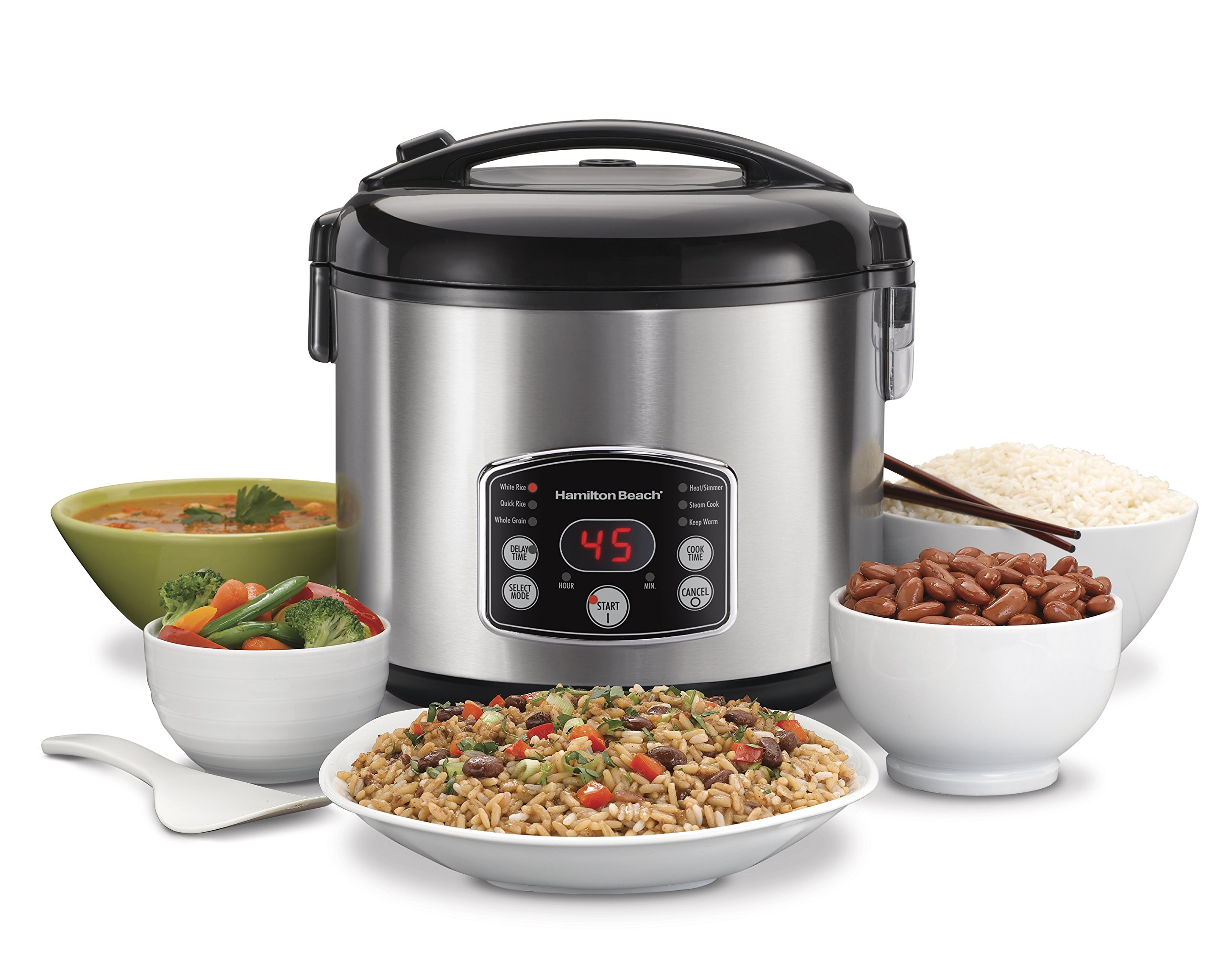 Hamilton Beach Rice & Hot Cereal Cooker, 7-Cups uncooked resulting in 14-Cups (Cooked), 37549