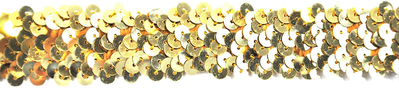 BELAGIO BK-302-10 Elastic Sequin Trimming Gold 25mm