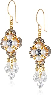product image for Miguel Ases Fresh Water Pearl 14k Gold Filled 3-Drop Dangle Earrings