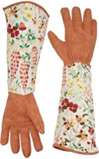Leather Rose Gardening Gloves Thorn Proof Pruning Gloves With Long  Polyester Print Cuff Long Sleeve Puncture