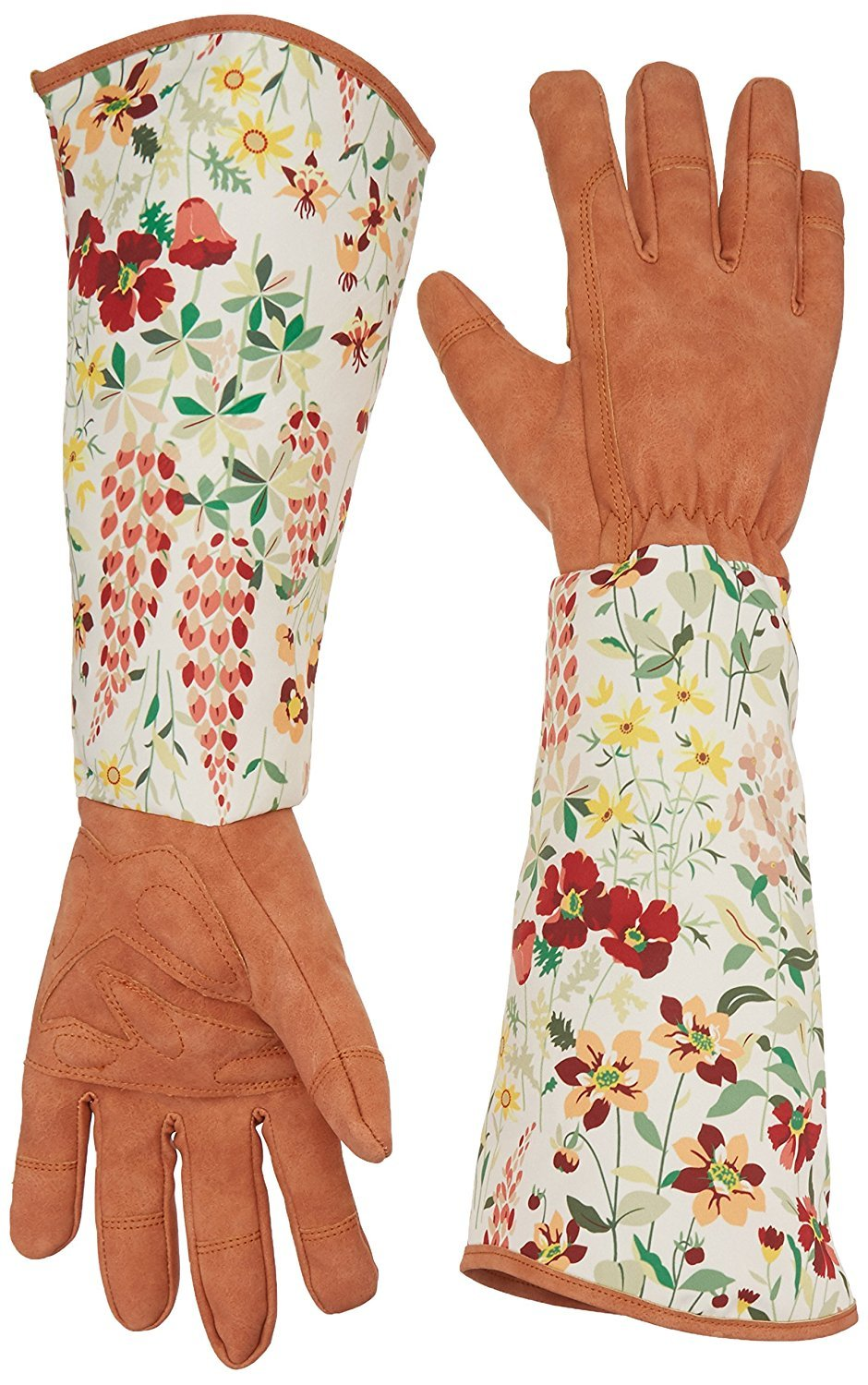QEES Leather Gardening Gloves with Thorn Proof Garden Gauntlet for Ladies with Long Polyester Print Floral Sleeves to Protect Your Arms Until the Elbow YLST01 ZhuoLang