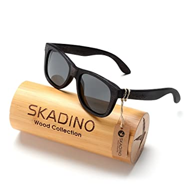 539fed25e6 SKADINO Wayfarer Beech Wood Sunglasses with Polarized Lenses-Handmade  Floating Wooden Shades for Men
