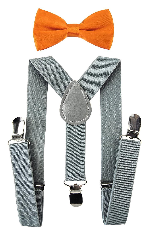 axy Bretelle per bambini a Y con papillon, 3 clip, massima tenuta, colore: grigio chiaro HTKS25-HGR