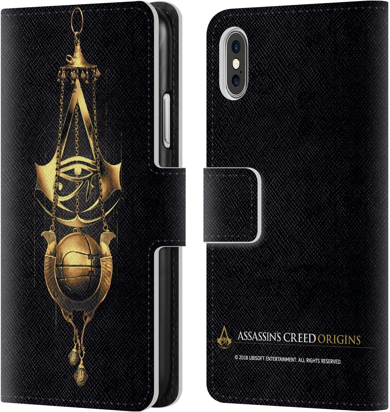 Head Case Designs Officially Licensed Assassin's Creed Piece of Eden Origins Crests Leather Book Wallet Case Cover Compatible with Apple iPhone X/iPhone Xs