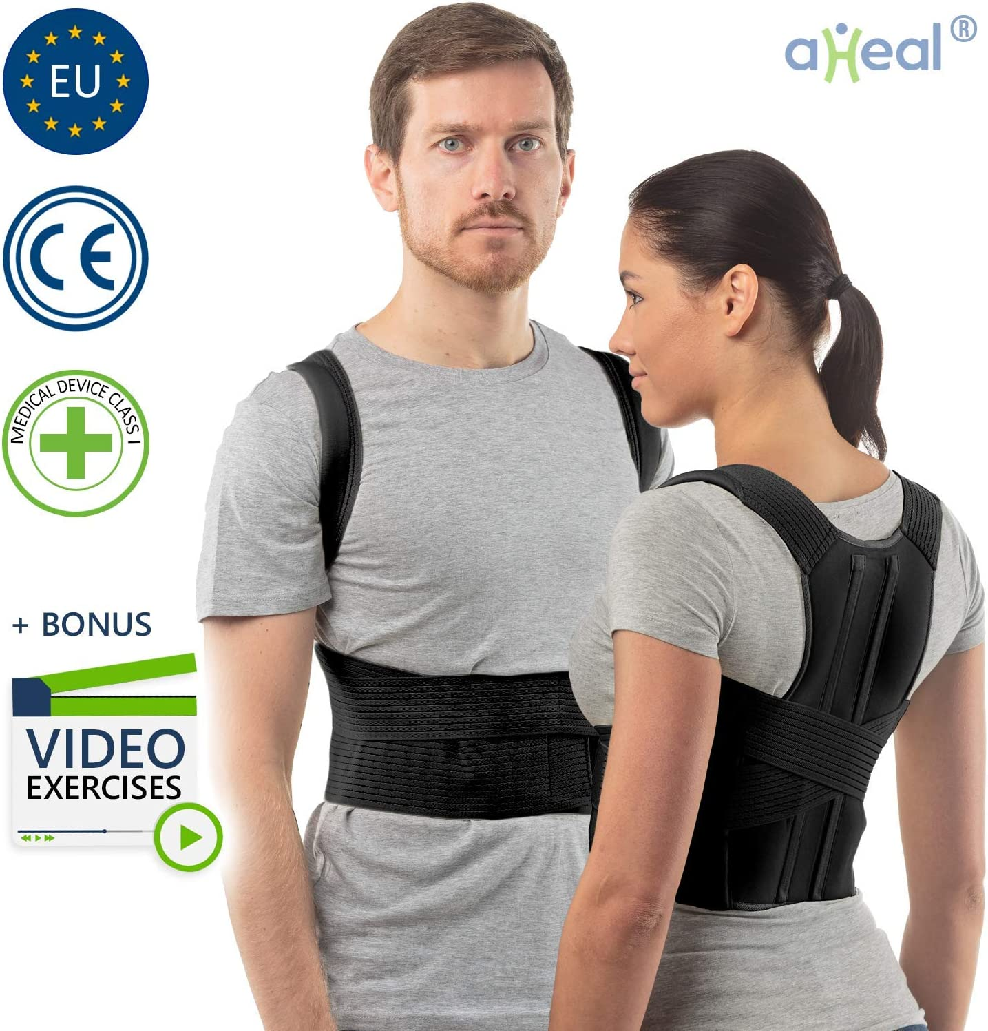 aHeal Corrector de Postura de Espalda para Hombre y Mujer | Soporte de Espalda y Columna Lumbar Superior para Corrección de Postura | Alivio del Dolor y Rehabilitación de Lesiones | Talla 1 Negro