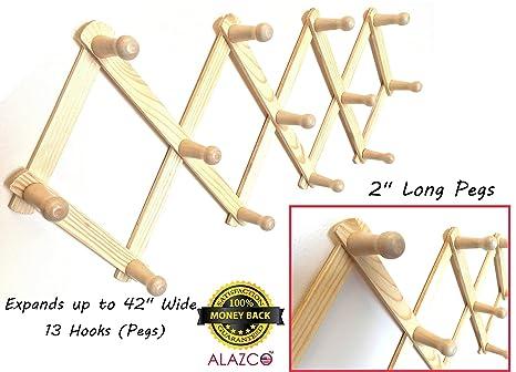 ALAZCO Perchero extensible de madera estilo acordeón, 13 ...