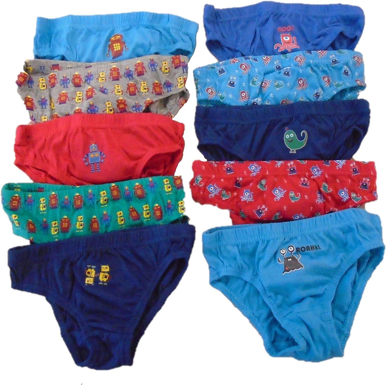Thingimijigs Boys 10 Pack Cotton Blend Underwear Briefs