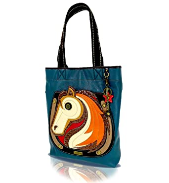 93a5286589f2 CHALA Everyday Tote Women Handbag, Purse for Work or School, Shoulder Bag  Totes with Detachable Keychain (Blue Tote-Horse)