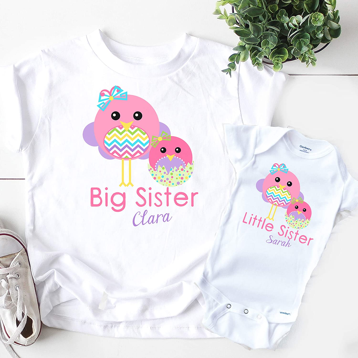 Personalized Big Sister Little Sister Matching Easter Shirts Handmade