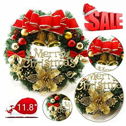 mannice large christmas wreath for front door wall windows artificial poinsettia xmas decorationred bowknot - Christmas Decorations For Front Windows