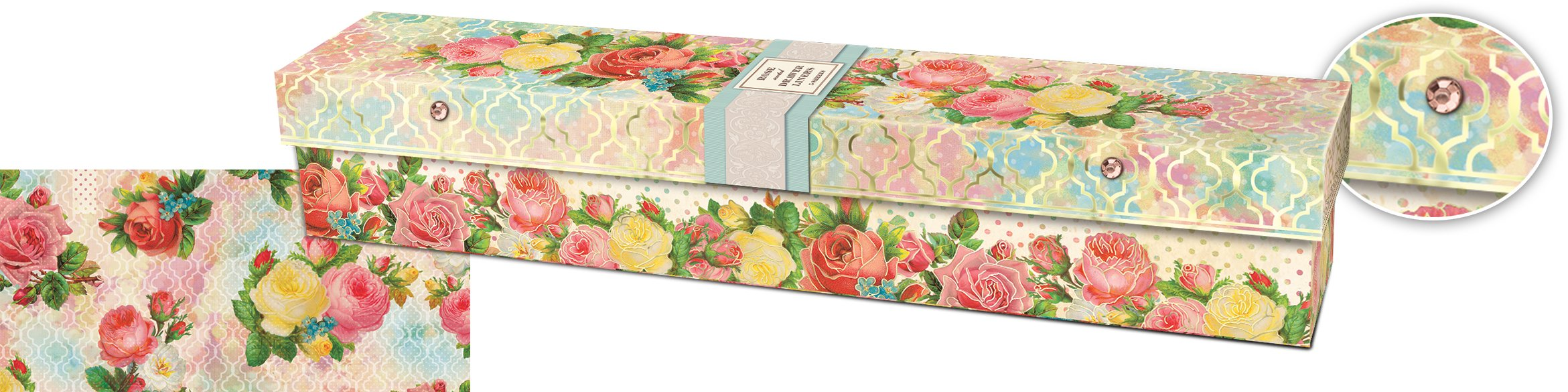 Punch Studio Scented Collection Modern Rose Drawer Liner Paper 5 Sheets Rose Scented