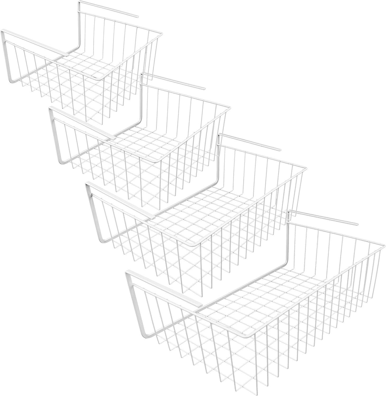 Southern Homewares Draht unter Regalen Aufbewahrungskorb 4-teiliges Set wei/ß