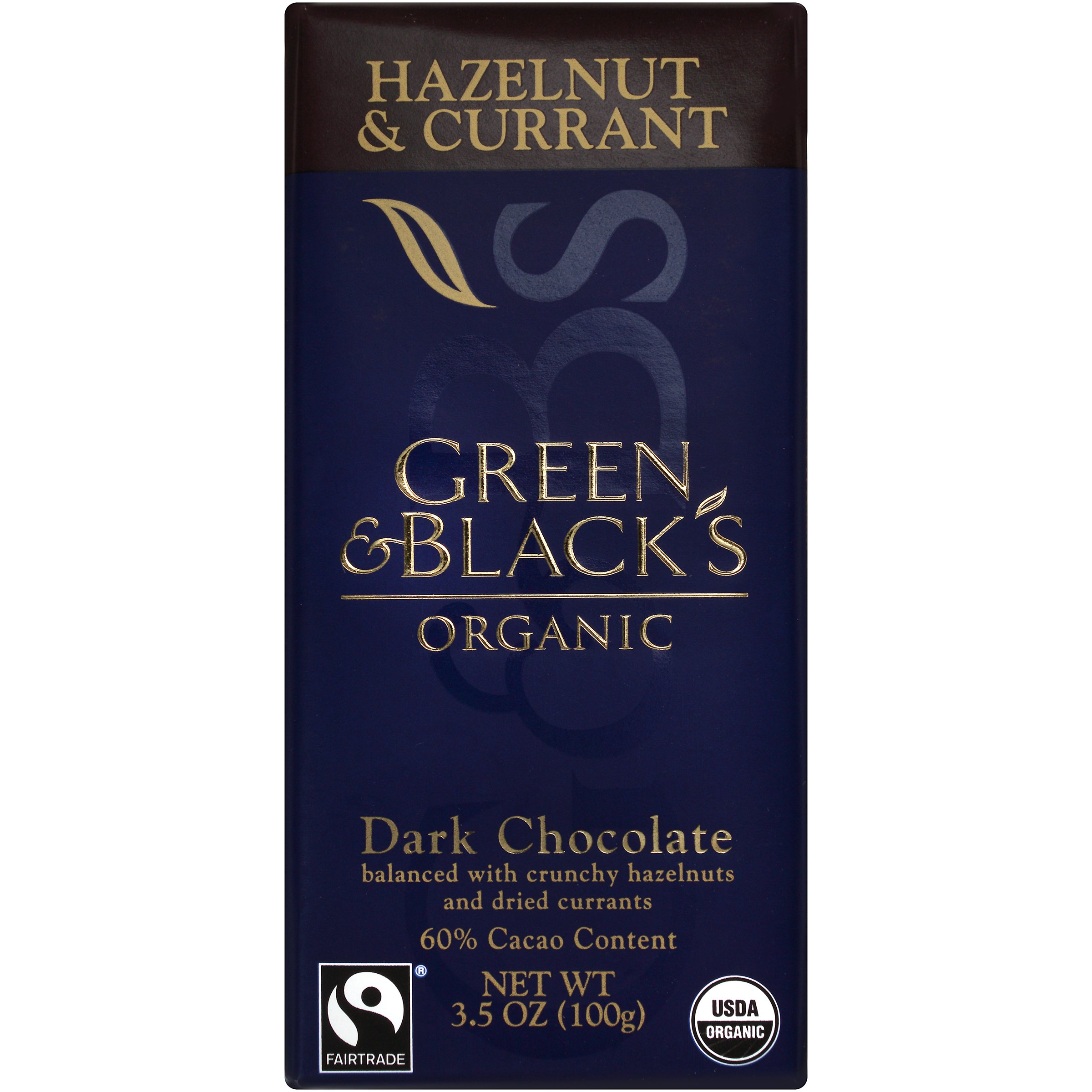Green & Black's Organic Dark Chocolate with Currant and Hazelnut, 60% Cacao, 3.5 Ounce Bars (Pack of 10)