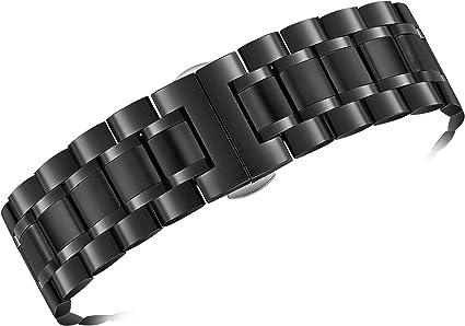 TALLA 19mm. Bandas de Reloj Metal Negro Estilo ostra con Ambos Extremos curvos y Rectos Acero Inoxidable 316l