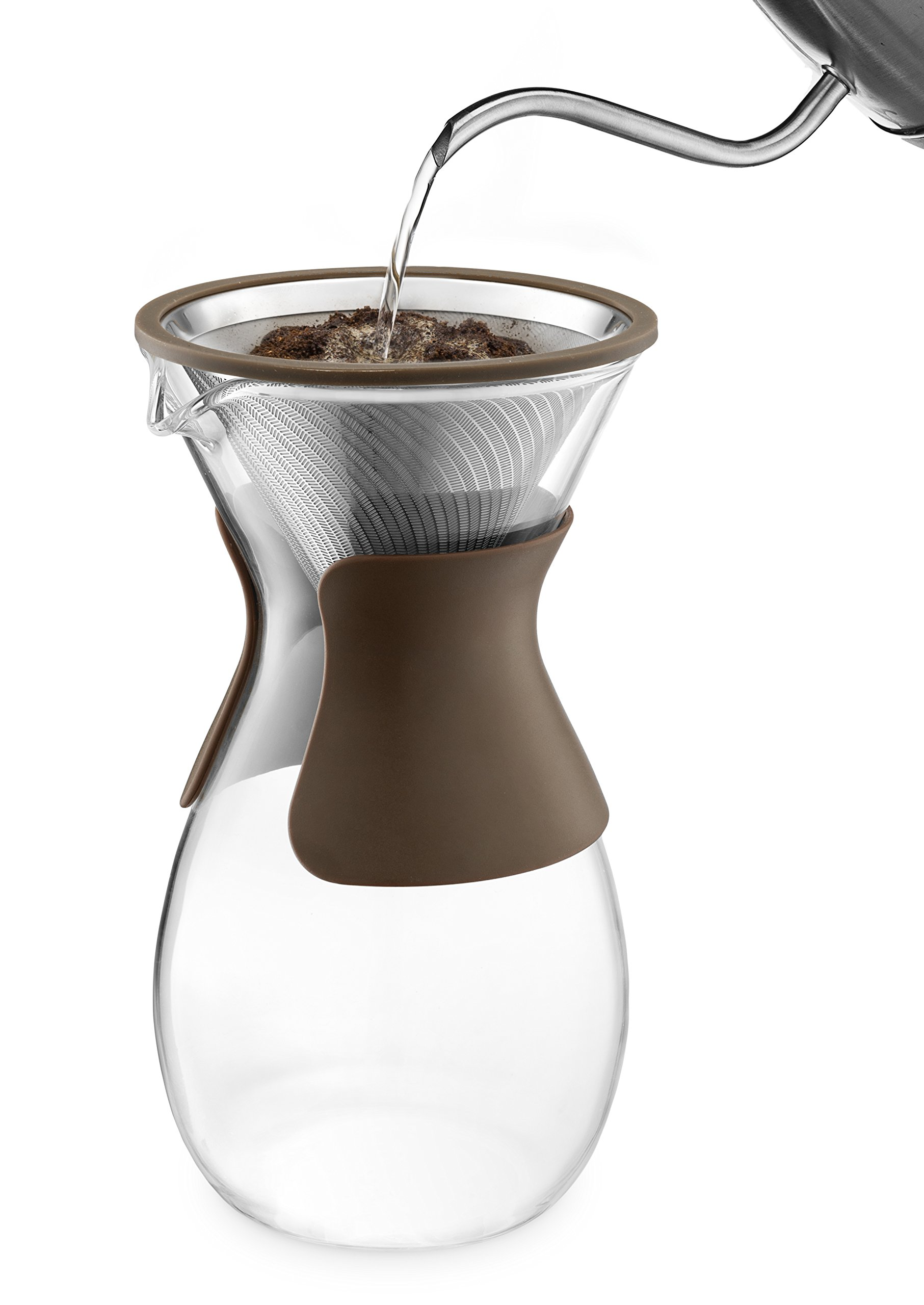 Osaka Pour Over Coffee Maker with Reusable Stainless Steel Drip Filter, 37 oz (7-Cup) Glass Carafe and Lid 'Senso-JI', Brown by Actor (Image #4)