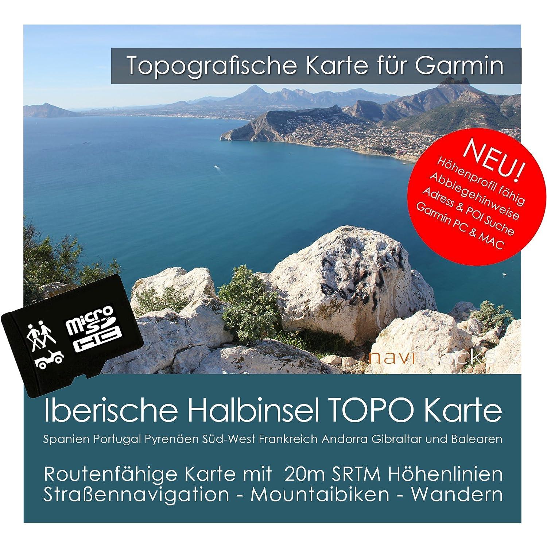 iber ische halbinsel Garmin tarjeta Topo 4 GB España Portugal Francia Mallorca, Menorca Ibiza Mapa Topográfico de tiempo libre bicicleta Senderismo ...