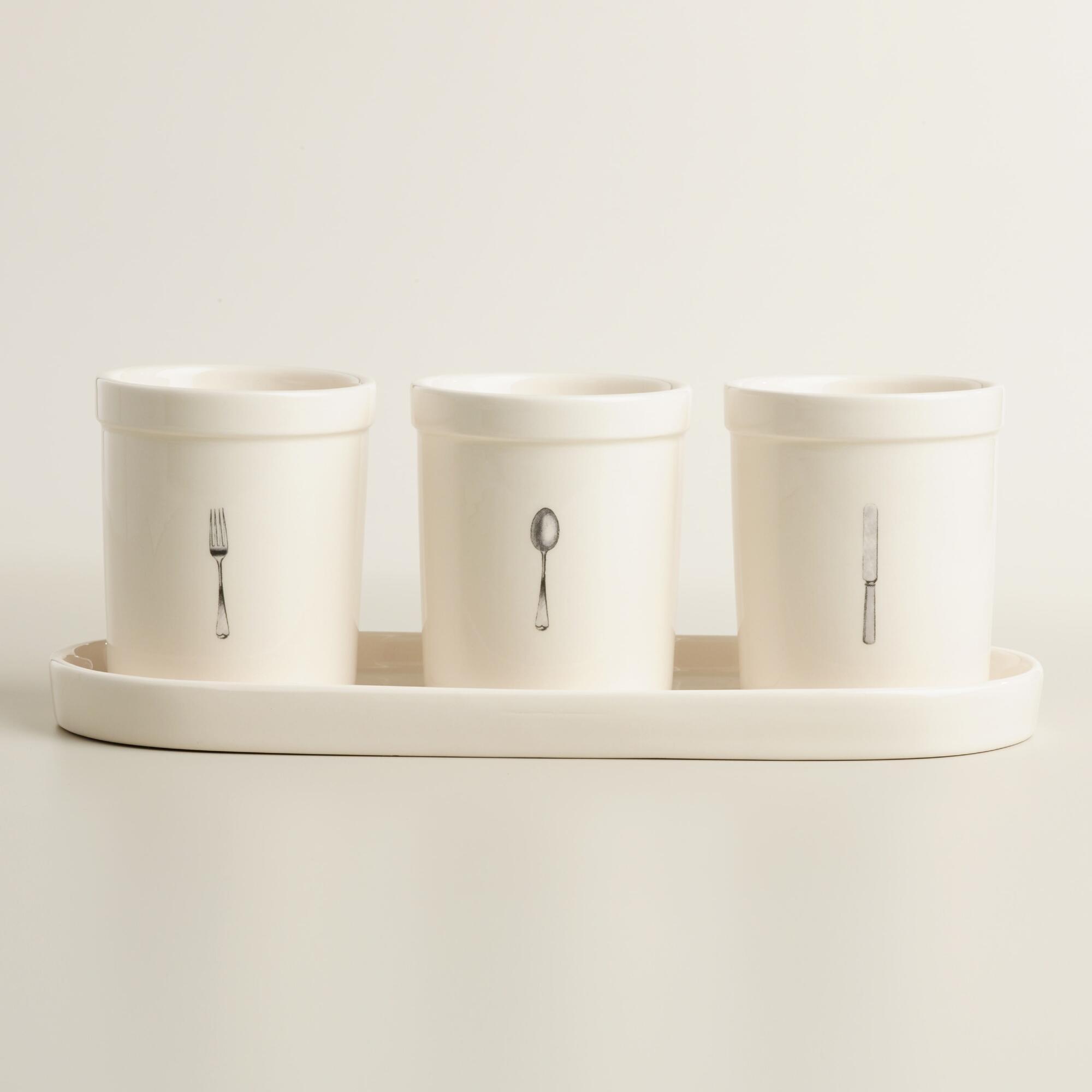 4 Piece Ceramic Flatware Caddy Set | World Market
