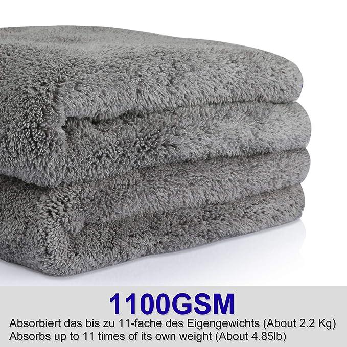 HQKJ 2 Piezas de Paños de Microfibra para Secado de Autos, Limpieza, Pulido, 48 * 42 cm 1100 gsm Extremadamente Absorbente Toalla de Doble Cara, ...
