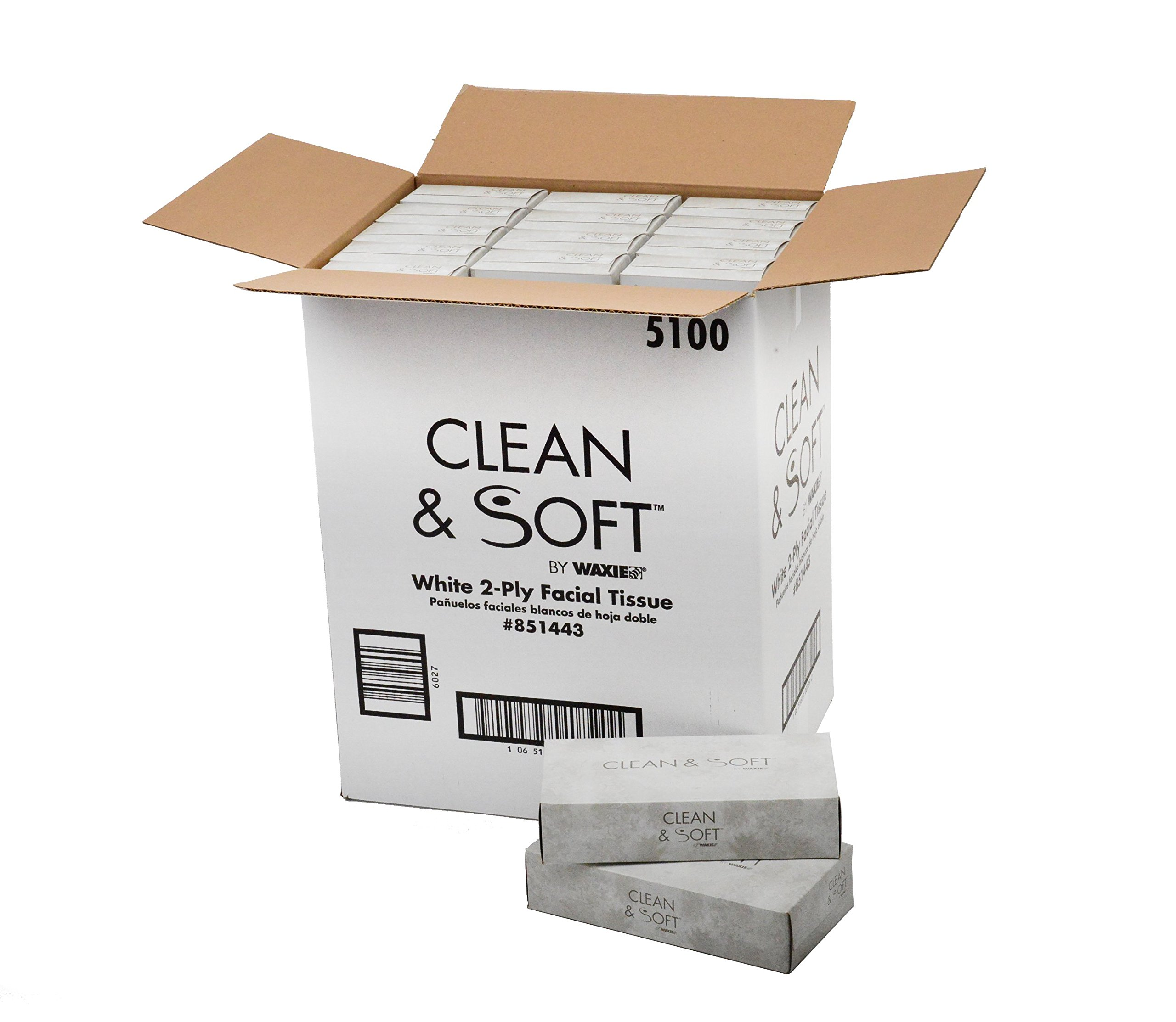 WAXIE 5100 Clean & Soft Facial Tissue, White, 2-Ply, 100 Sheets Per Box, 8.5'' X 7.7'' (Case of 30)