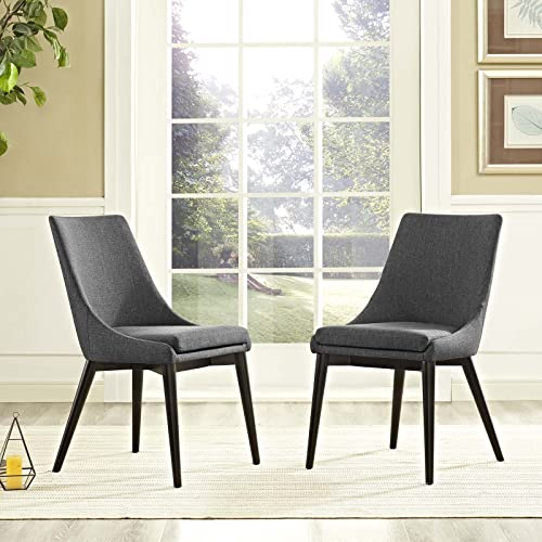 Modway Viscount Mid-Century Modern Upholstered Fabric Two Kitchen and Dining Room Chairs
