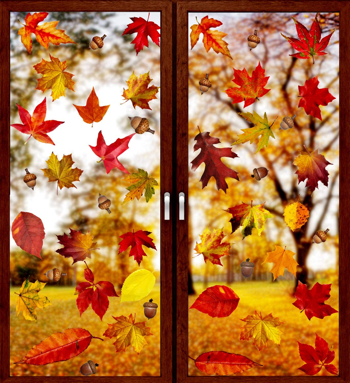 VEYLIN 6 Sheets 250Pcs Thanksgiving Window Clings, Autumn Maple Leaves Window Static Stickers for Thanksgiving Day Window Decoration