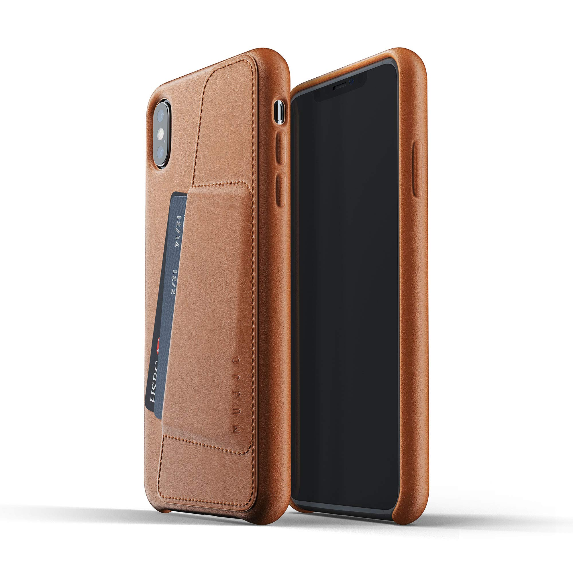 Mujjo Full Leather Wallet Case Compatible with iPhone Xs Max | Real Leather with Natural Aging Effect, 2-3 Card Pocket, 1MM Protective Screen Bezel, Japanese Suede Lining (Tan)