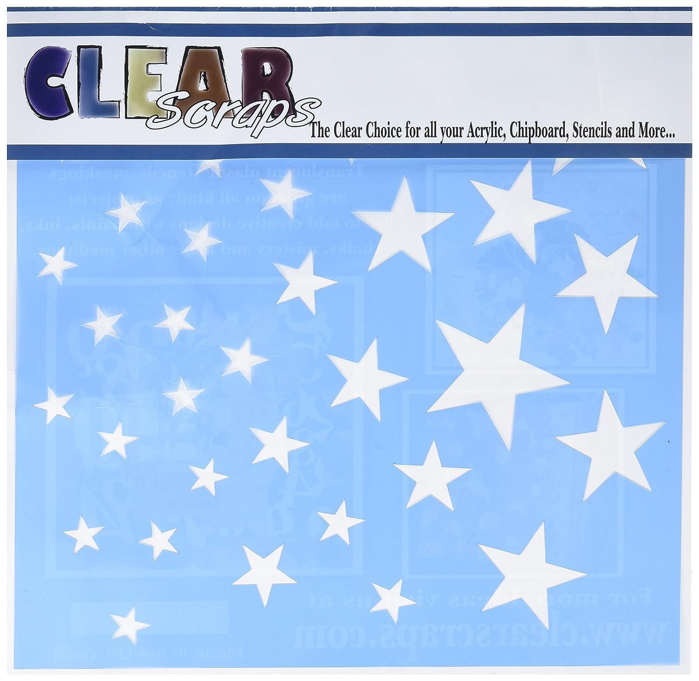 Clear Scraps Plastic Stencils 12-inch x 12-inch Stars CSSM12-STARS