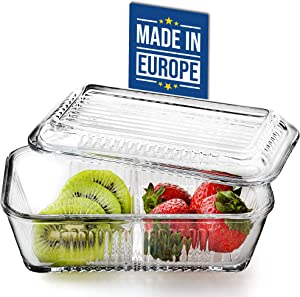 Crystalia Double Compartment Glass Food Container with Glass Lid, Crystal Cut Glass Meal Prep Containers for Butter and Honey, Lunch, Snacks, Leftovers, Divided Storage Glassware, 13.7 OZ