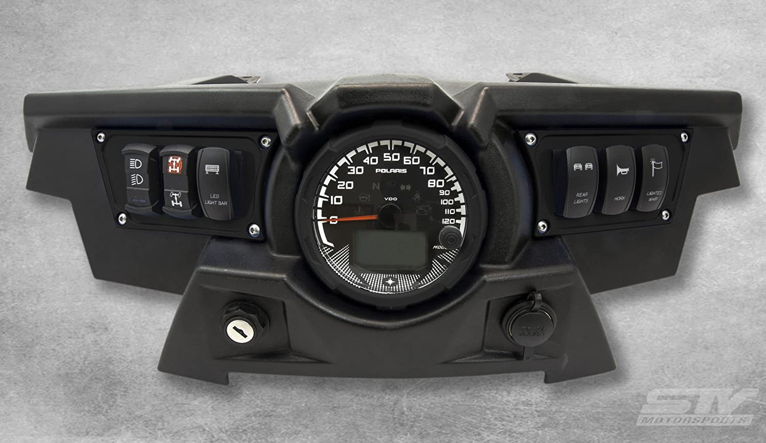 STVMotorsports Custom Aluminum Black Dash Panel for Polaris RZR XP 1000 with 4 Laser Rocker Switches Included