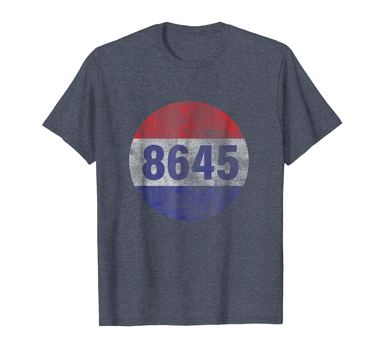 Large 8645 Impeach 45 86 Him Patriotic Button T-Shirt-ln