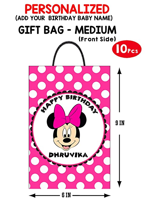 Wow Party Studio Personalized Minnie Mouse Theme Birthday Return Gift Bag EPack Of 10 Amazonin Toys Games