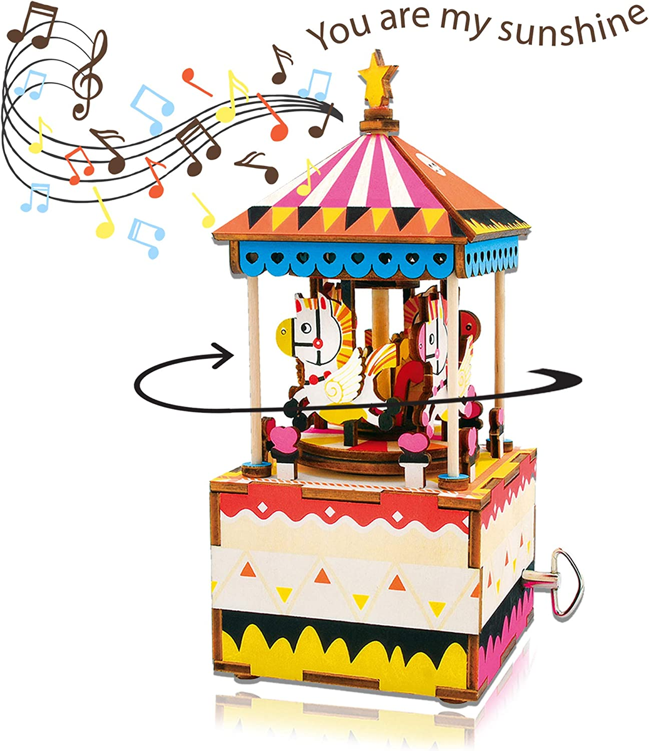 Merry Go Round Wooden Model Kit Carousel Laser Cut Puzzle Robotime Craft DIY Toy Fun Fair Carnival
