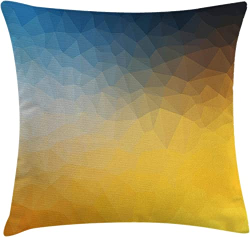Ambesonne Yellow and Blue Throw Pillow Cushion Cover, Abstract Polygon Style Fractal Gradient Geometric Background Art, Decorative Square Accent Pillow Case, 24 X 24 , Blue Marigold